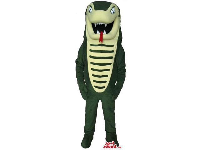 Green Snake Cobra Reptile Canadian SpotSound Mascot With A Long Red Tongue