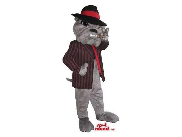 Bulldog Plush Canadian SpotSound Mascot Dressed In Gangster Gear Smoking A Cigar