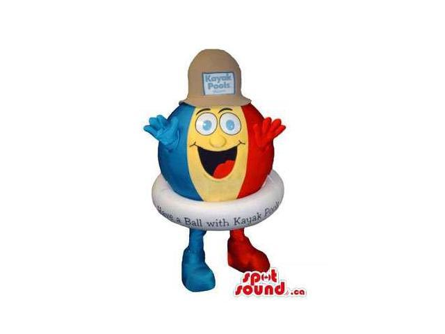 Peculiar Colourful Large Beach Ball Canadian SpotSound Mascot With A Hat And Text