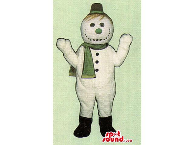 Snowman Canadian SpotSound Mascot Dressed In A Green Scarf And A Green Nose