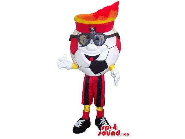 Football Character Canadian SpotSound Mascot Dressed In Glasses And A Hat