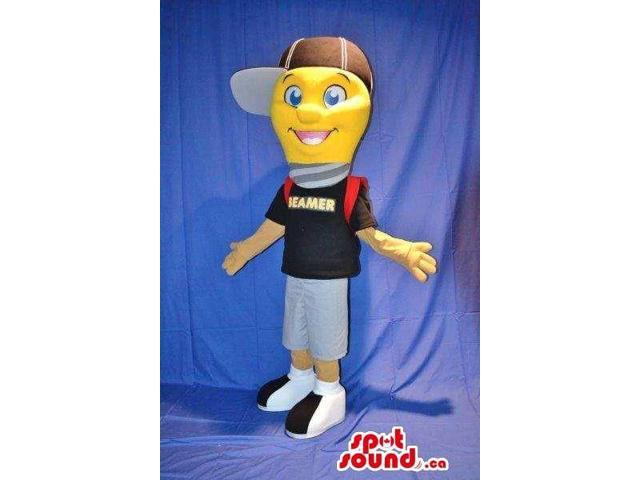 Yellow Plush Canadian SpotSound Mascot Dressed In A Cap, A T-Shirt And Backpack