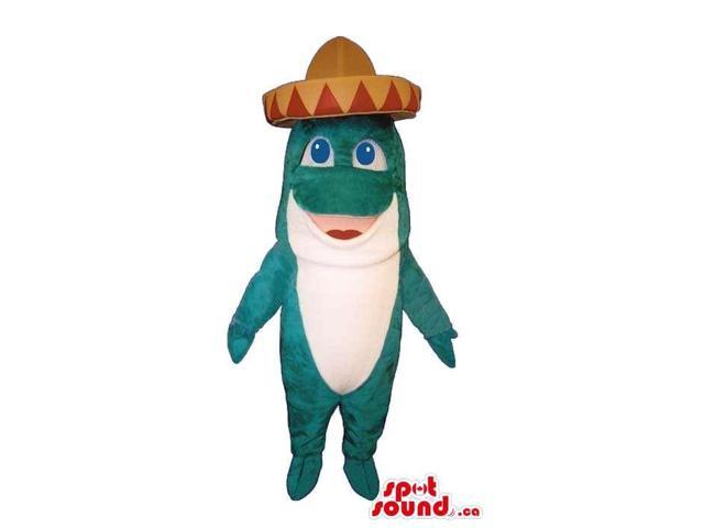 Cute White And Blue Fish Plush Canadian SpotSound Mascot Dressed In A Mexican Hat