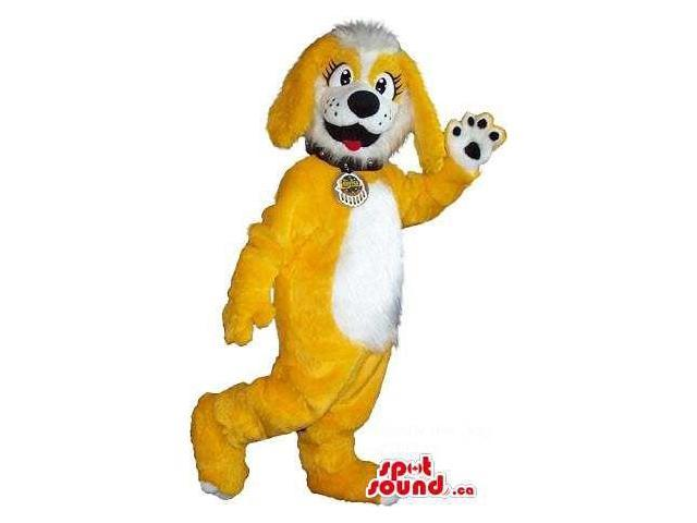Yellow Woolly Dog Plush Canadian SpotSound Mascot With A White Belly And A Collar