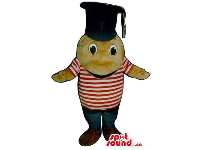 Cute Beige Fish Plush Canadian SpotSound Mascot Dressed In A Graduation Hat