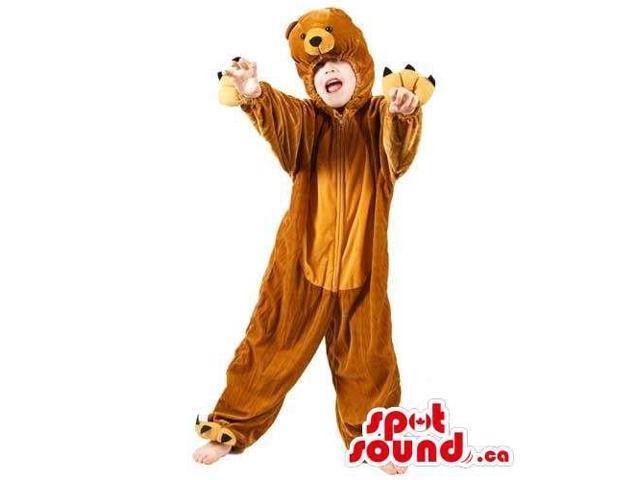 Cute Large Brown Bear Children Size Plush Halloween Costume