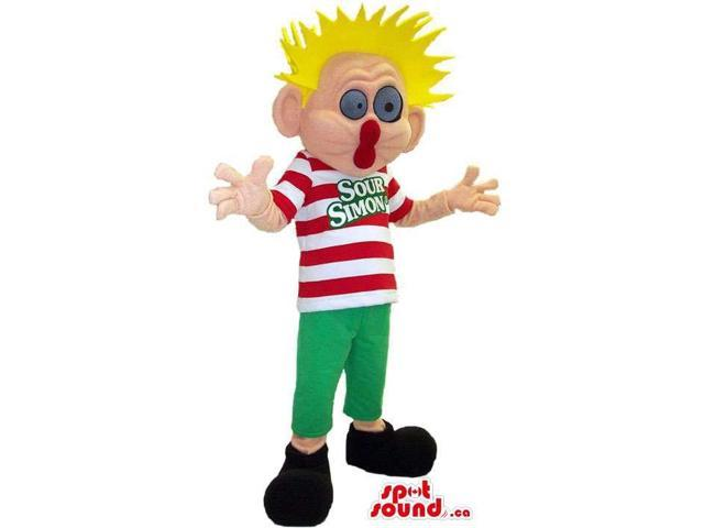 Peculiar Boy Human Canadian SpotSound Mascot With Spiky Blond Hair And A Striped Shirt