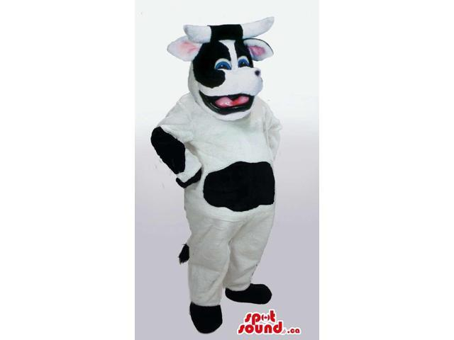 Customised Happy White And Black Cow Plush Canadian SpotSound Mascot