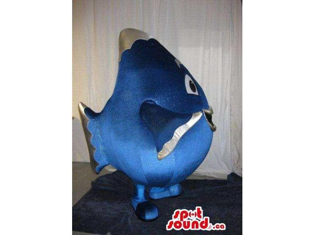Cute Blue Large Round Fish Plush Canadian SpotSound Mascot With Happy Face