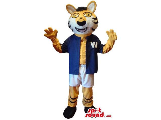 Tiger Animal Canadian SpotSound Mascot Dressed In Blue And White Baseball Gear