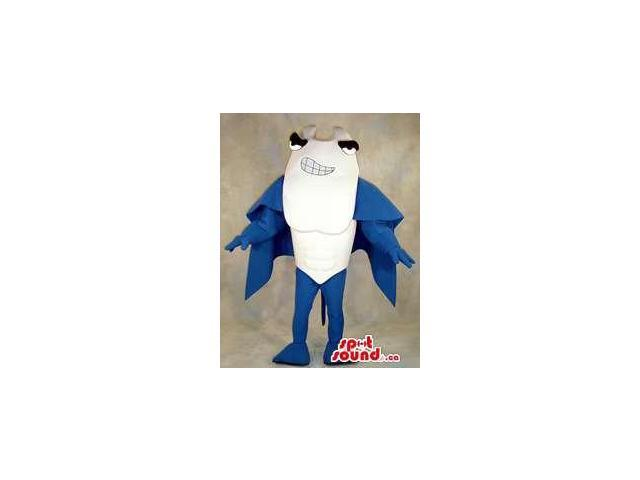 Angry Blue And White Large Ray Fish Sea Ocean Plush Canadian SpotSound Mascot