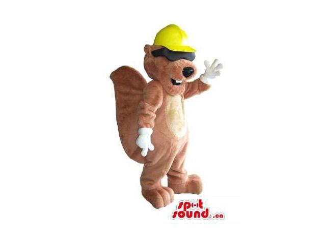 Brown Beaver Animal Plush Canadian SpotSound Mascot Dressed In A Yellow Helmet