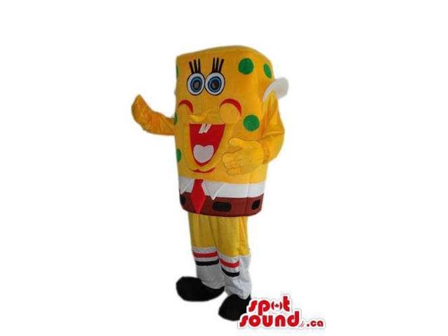 Sponge Bob Square Pants Cartoon Plush Canadian SpotSound Mascot With Green Dots