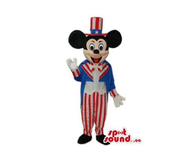 Mickey Mouse Disney Character Plush Canadian SpotSound Mascot In Uncle Sam Clothes