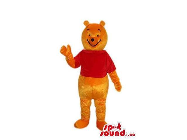 Winnie The Pooh Standard Cartoon Bear Canadian SpotSound Mascot With A Red T-Shirt