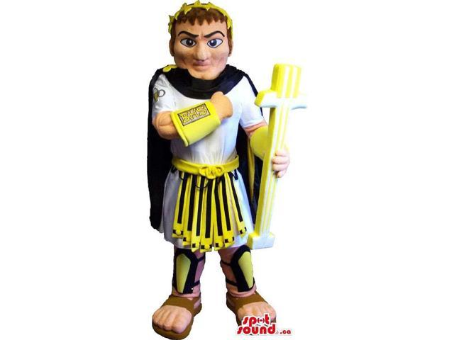 Ancient Roman Soldier Human Canadian SpotSound Mascot Dressed In An Armour