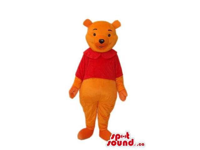 Winnie The Pooh Cartoon Bear Canadian SpotSound Mascot With A Round Collar T-Shirt