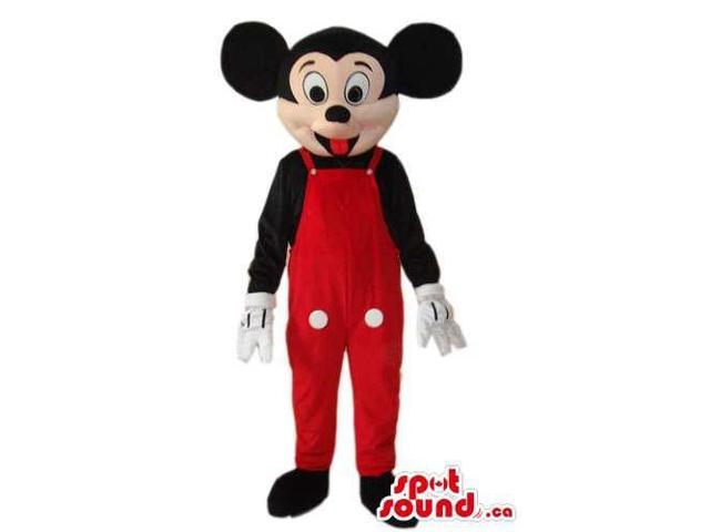 Mickey Mouse Disney Character Dressed In Red Overalls