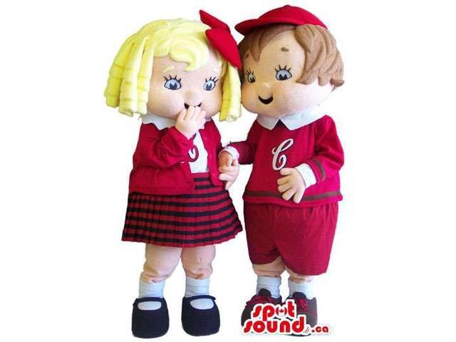 Boy And Girl Canadian SpotSound Mascot Dressed In Red And White School Uniform