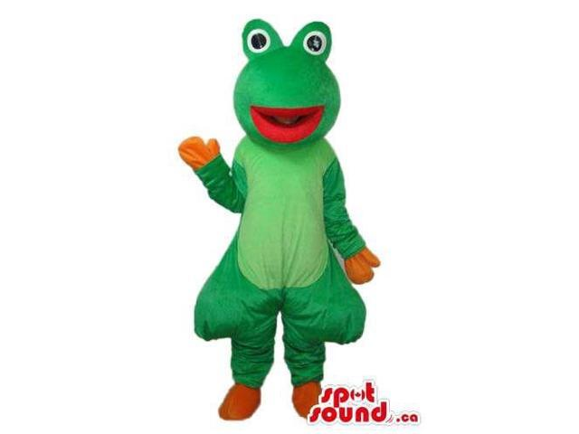 Green Fairy-Tale Frog Plush Canadian SpotSound Mascot With Round Eyes And A Red Mouth