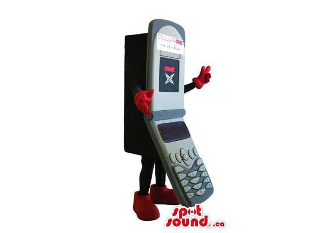 Customised Grey And Red Folded Cell Phone Canadian SpotSound Mascot