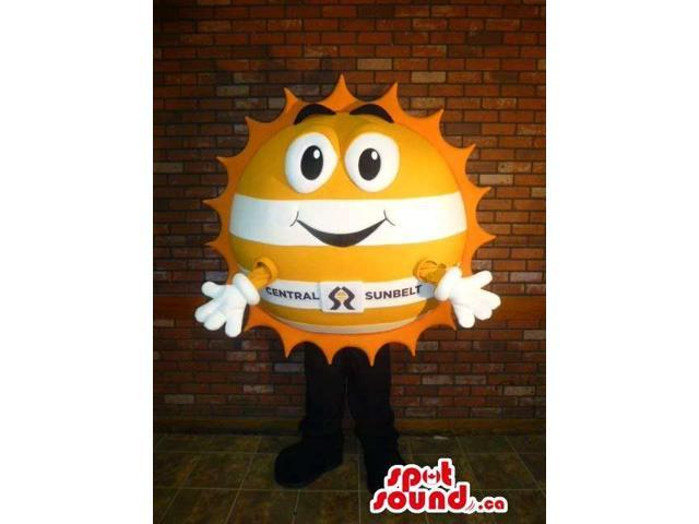 Customised Yellow And White Sun Canadian SpotSound Mascot With Space For Logos