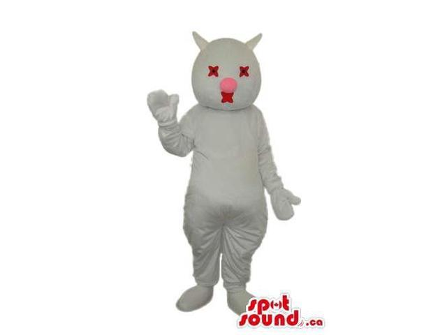 Fairy-Tale White Cat Or Bat With Blind Eyes Plush Canadian SpotSound Mascot