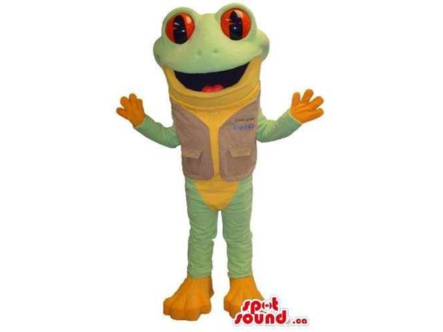 Green And Orange Frog Canadian SpotSound Mascot Dressed In A Vest With Red Eyes