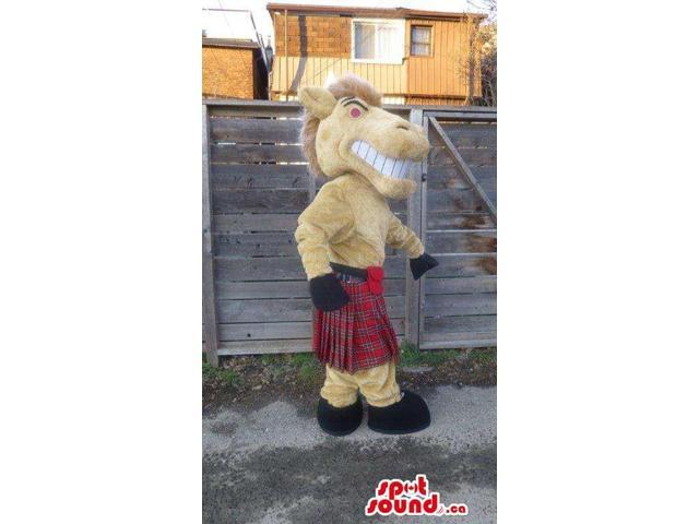 Yellow Horse Animal Canadian SpotSound Mascot Dressed In A Red Scottish Kilt