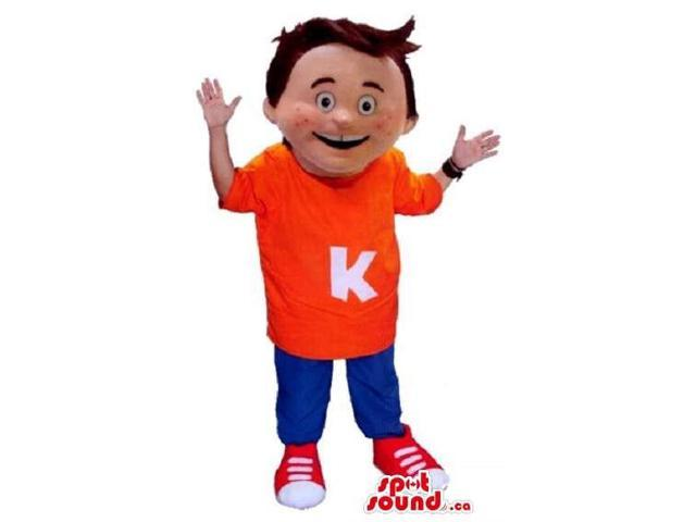 Happy Boy Canadian SpotSound Mascot Dressed In Blue And Red Gear With Letter K