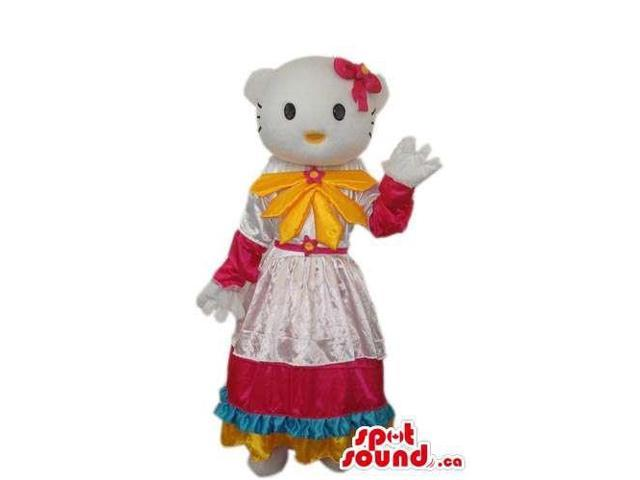 Kitty Cat Cartoon Canadian SpotSound Mascot With A Countryside Dress And Yellow Bow
