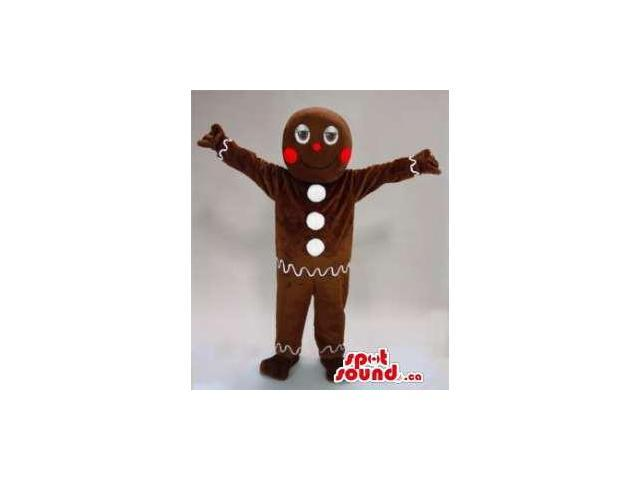 Ginger Bread Man Cake Plush Canadian SpotSound Mascot With White Buttons
