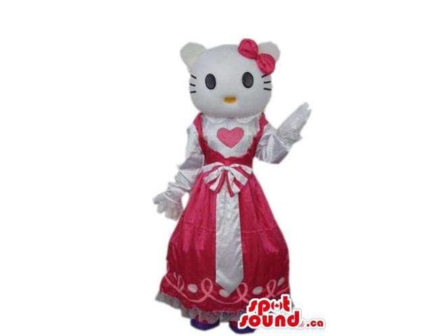 Kitty Cat Cartoon Canadian SpotSound Mascot Dressed In A Red Dress With A Heart