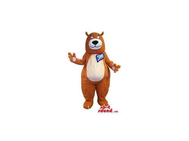 Brown Bear Canadian SpotSound Mascot With White Belly With Space For Logos