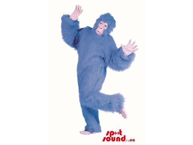 Flashy Blue Woolly Gorilla Plush Canadian SpotSound Mascot Or Disguise