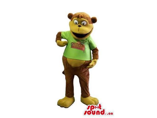 Customised Brown Monkey Animal Canadian SpotSound Mascot Dressed In A Green T-Shirt