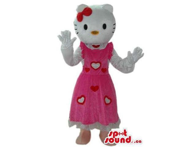 Kitty White Cat Well-Known Character Canadian SpotSound Mascot In A Hearts Dress