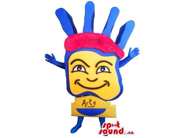 Customised Large Artistic Yellow And Blue Hand Logo Canadian SpotSound Mascot
