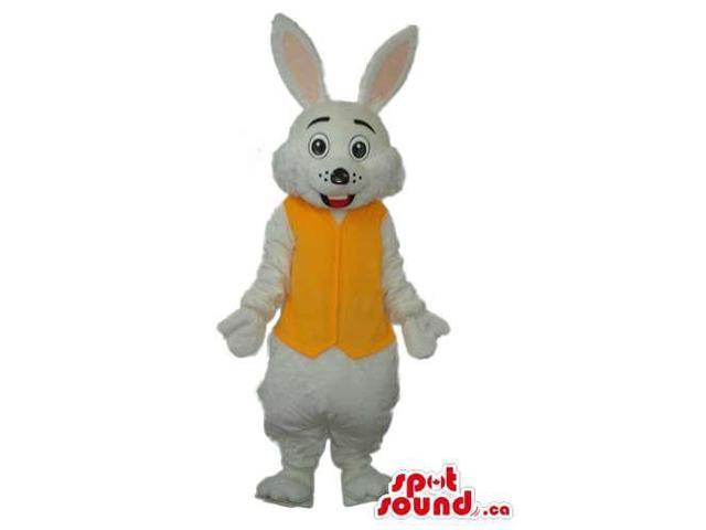 White Rabbit Plush Canadian SpotSound Mascot Dressed In A Yellow Vest