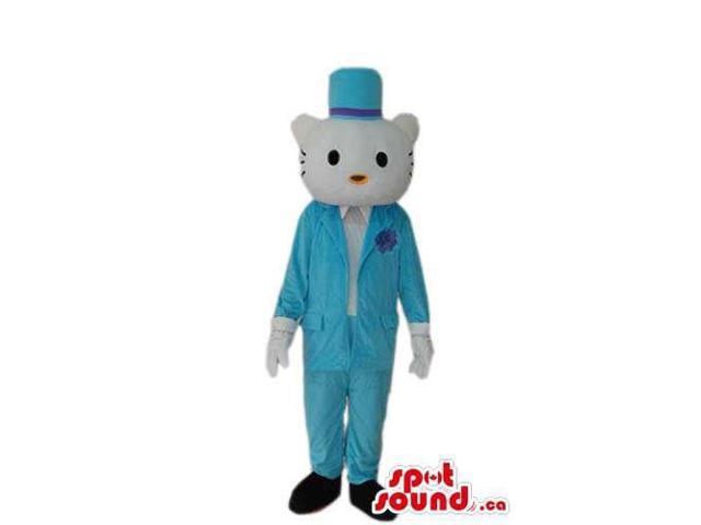 Kitty Cat Boy Cartoon Canadian SpotSound Mascot With Elegant Blue Gear