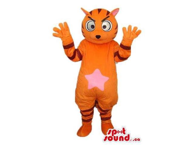 Orange Fairy-Tale Tiger Plush Canadian SpotSound Mascot With A Pink