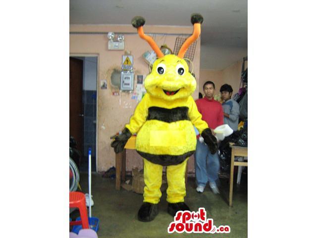Fairy-Tale Bee Plush Canadian SpotSound Mascot With Long Orange Antennae