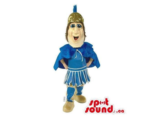 Customised Ancient Roman Human Canadian SpotSound Mascot Dressed In A Golden Helmet