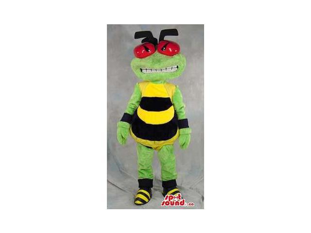 Angry Green Bee Plush Canadian SpotSound Mascot With Large Red Eyes And Teeth