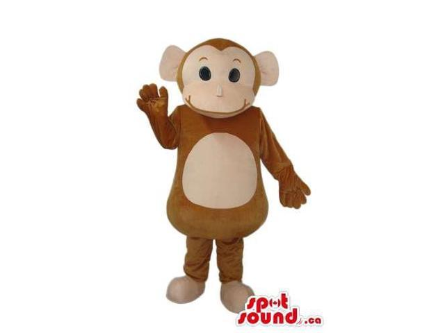 Cartoon Cute Brown Monkey Plush Canadian SpotSound Mascot With Beige Belly