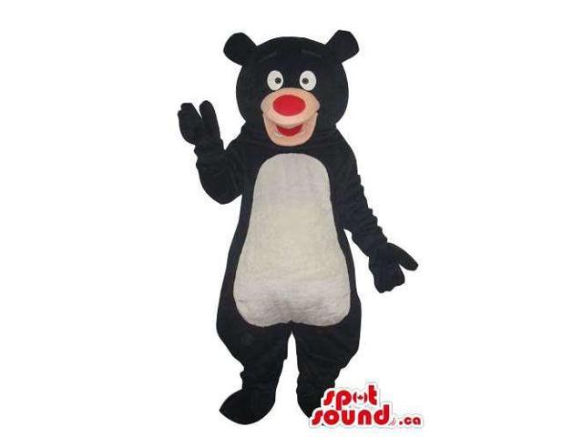 Cartoon Black Bear Plush Canadian SpotSound Mascot With A White Belly And Red Nose