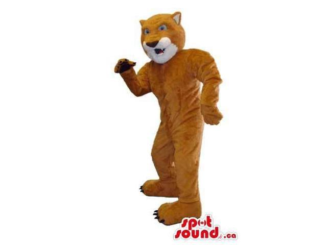 Customised And All Brown Wild Cat Animal Canadian SpotSound Mascot With Teeth