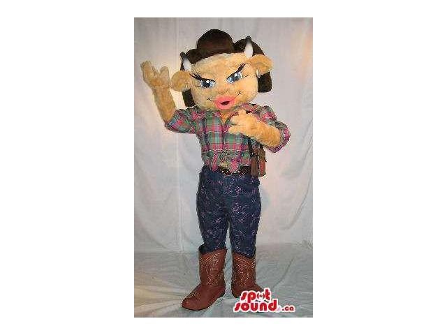 Brown Girl Cow Animal Plush Canadian SpotSound Mascot Dressed In Cowboy Clothes