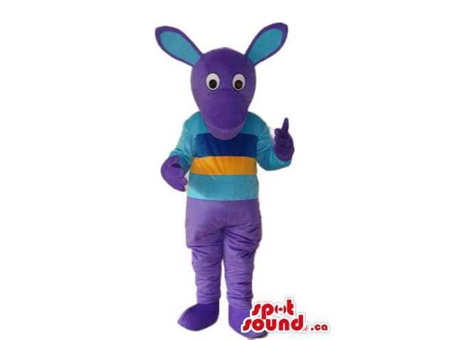 Fairy-Tale Purple Rabbit Plush Canadian SpotSound Mascot Dressed In A Striped T-Shirt