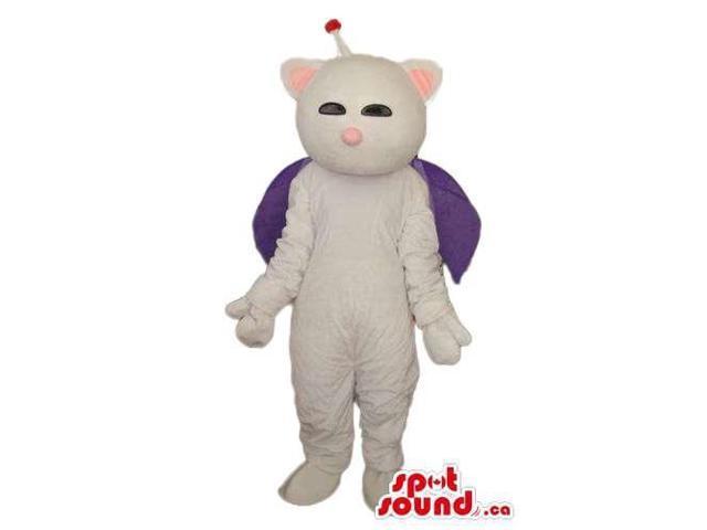 Fairy-Tale White Cosmic Cat Plush Canadian SpotSound Mascot Dressed In A Purple Cape